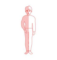 Red silhouette shading cartoon full body guy vector