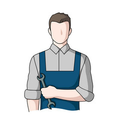 fitter mechanicprofessions single icon in cartoon vector image