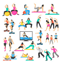 people yoga gymnastics aerobics set vector image
