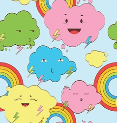 happy rainy clouds seamless background vector image