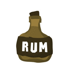 Cartoon style grunge pirate rum bottle isolated vector