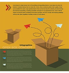 Infographics of open box concept vector