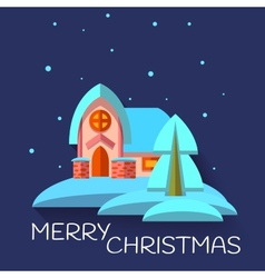 Christmas with cute house in flat style vector