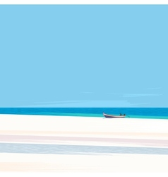 Fishing boat on a beach with white sand vector