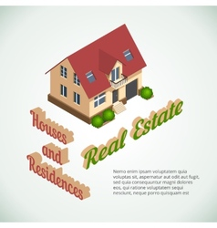 Flat 3d real estate poster vector