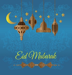 Eid mubarak greeting with lamps vector
