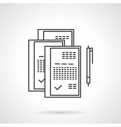 Signed documents line icon vector