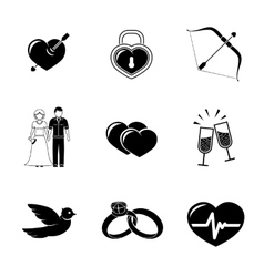 Set of love amour icons - heart with arrow two vector