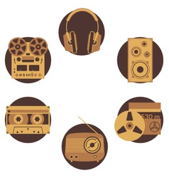 Brown music icons vector