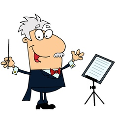 Caucasian cartoon music conductor man vector