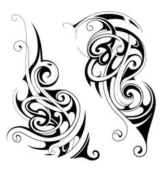 Maori style tattoo set vector image