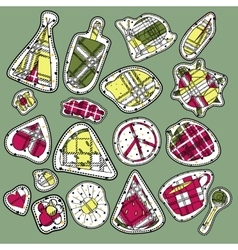 Hippie embroidery neon tartan summer patches vector