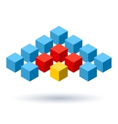 Blue cubes wings logo with red segments vector
