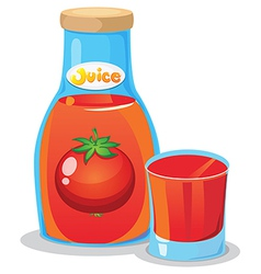 A bottle of tomato juice vector image vector image