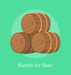 Barrels for beer isolated vector