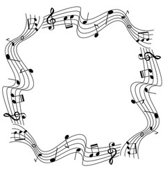 Border template with musicnotes on scale vector