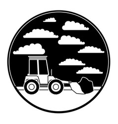bulldozer in circular frame with cloud landscape vector image