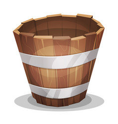 Cartoon wood bucket vector