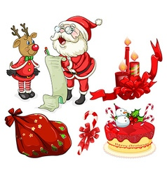 Christmas flashcard with santa and ornaments vector