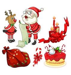 Christmas flashcard with santa and ornaments vector