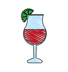 Color crayon stripe cartoon glass cup of cocktail vector