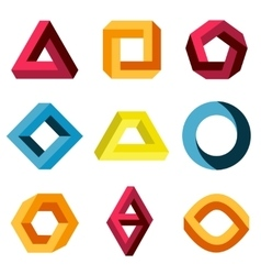 Color impossible shapes set vector image