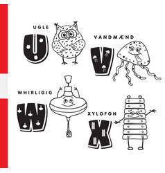Danish alphabet owl jellyfish pinwheel vector
