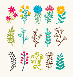 Floral elements in doodle style vector