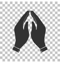 Hand icon prayer symbol dark gray vector