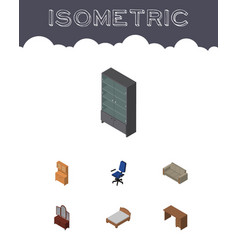 Isometric furniture set of drawer sideboard vector
