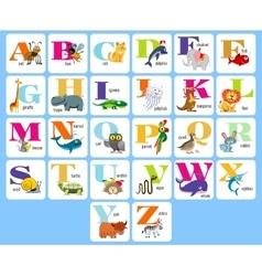 Kids full alphabeth with cartoon animals vector