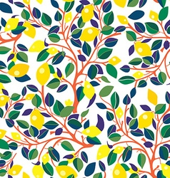 Lemons seamless pattern - design with leaves vector image