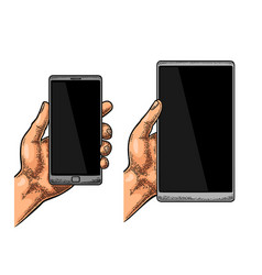 Male hand holding a modern mobile phone vintage vector