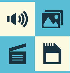 Media icons set collection of megaphone memory vector