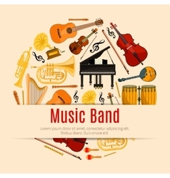 Musical instruments music band poster vector image vector image