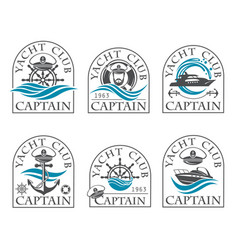 nautical emblems collection vector image vector image