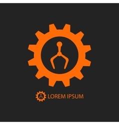 Orange robot industry logo on black vector