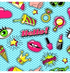 Patches for girls comic style pattern vector