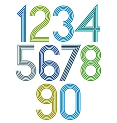 Poster rounded big bright numbers with stripes on vector