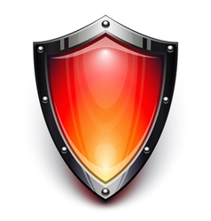 Red security shield vector image