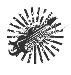 Rock star logo with abstract guitar and black vector