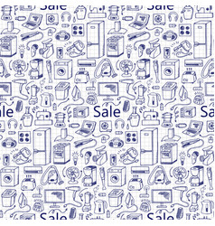 Sale household doodle seamless pattern vector