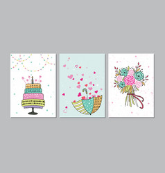 set of beautiful birthday love congratulation vector image vector image