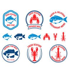 Set of seafood emblems fish lobster squid design vector