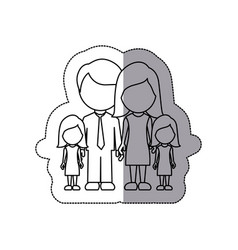 Silhouette family their girls twins icon vector