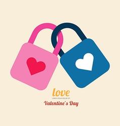 Valentine heart lock symbol vector image