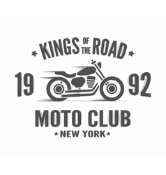 Vintage motorcycle label t-shirt design vector