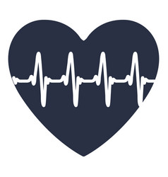White background with dark blue icon of heartbeat vector
