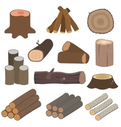 Wood materials logs vector image