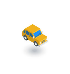 yellow car hatchback isometric flat icon 3d vector image